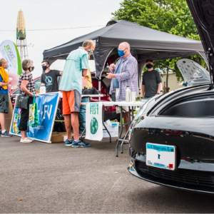 Photo of electric vehicle car display at Rochester Farmer's Market